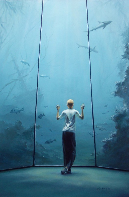 A painting of a boy looking into an aquarium with a shipwreck, some sharks and fish.
