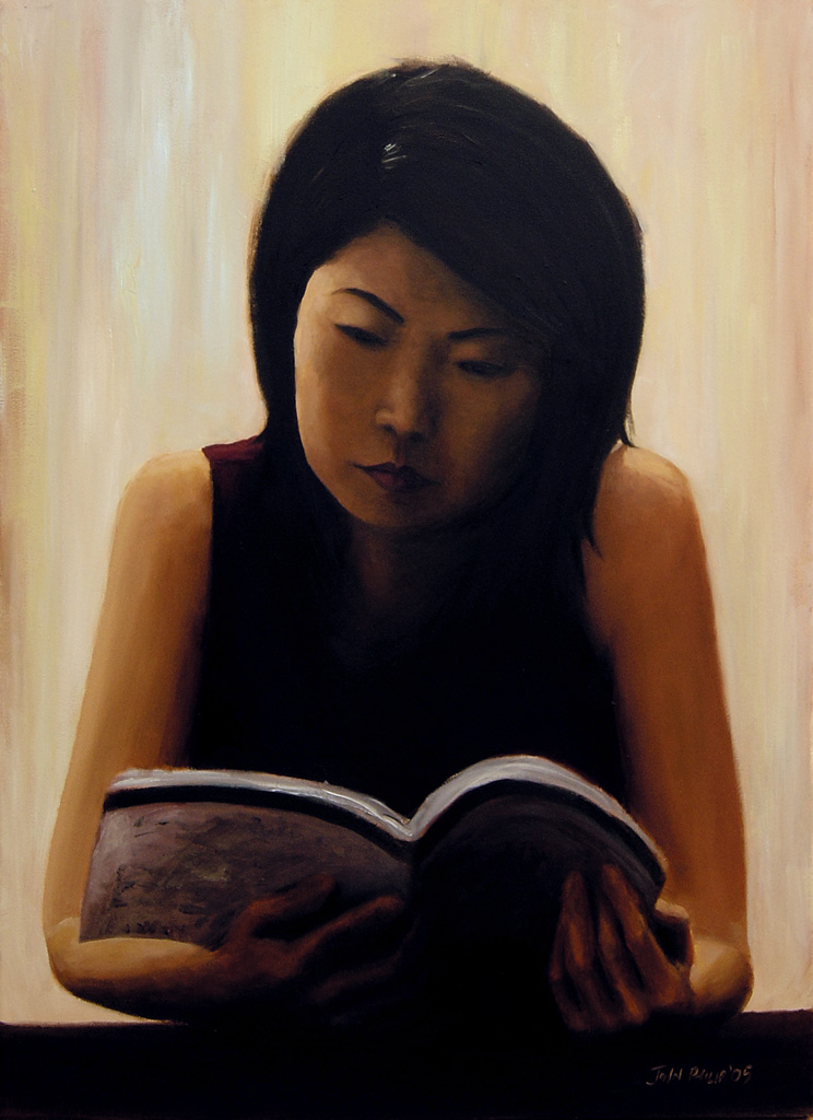 Painting of a girl reading in a Singapore coffee shop