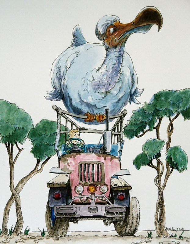 Cartoon of a Dodo sitting on a tractor