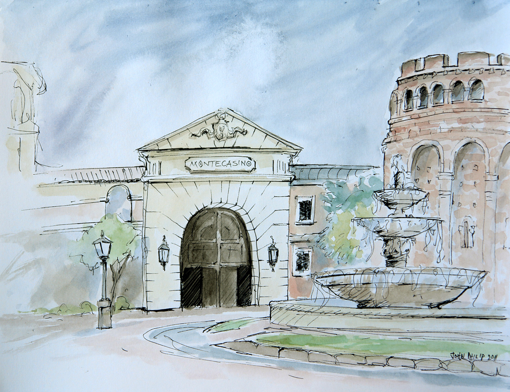 View of Montecasino entrance with water fountain