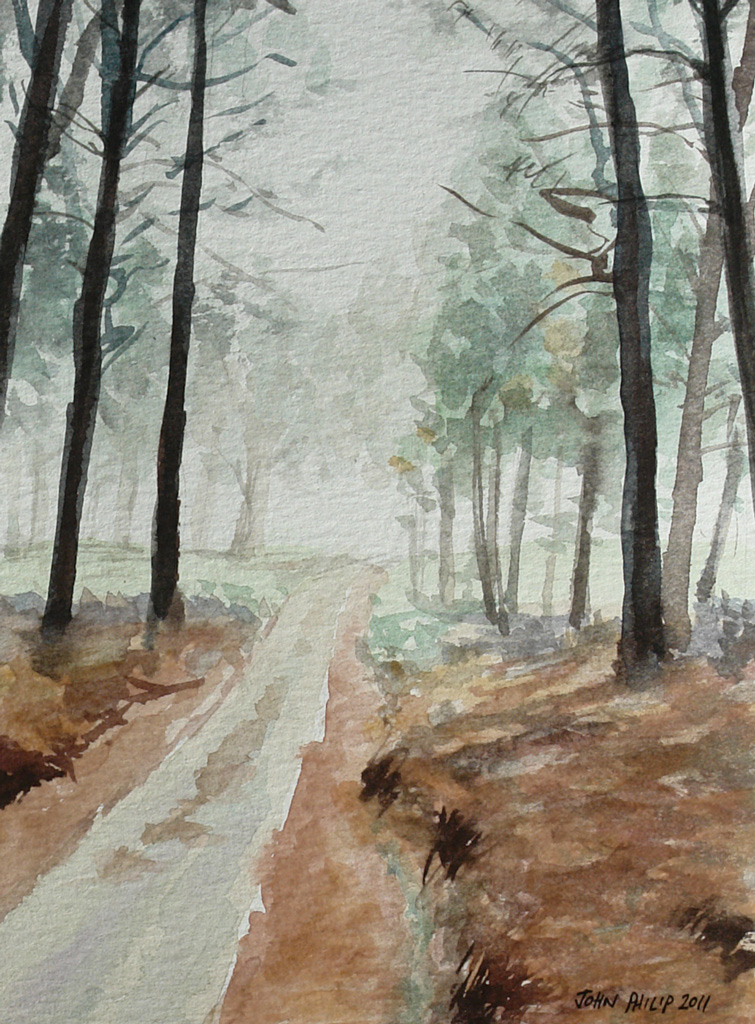 Watercolour of pine trees and road near Lothair, Mpumalanga, South Africa - Version 2