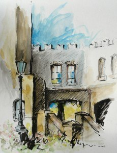 Watercolor of the back area of Montecasino