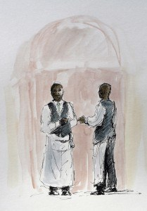 Pen and Watercolour of two Restaurant Waiters