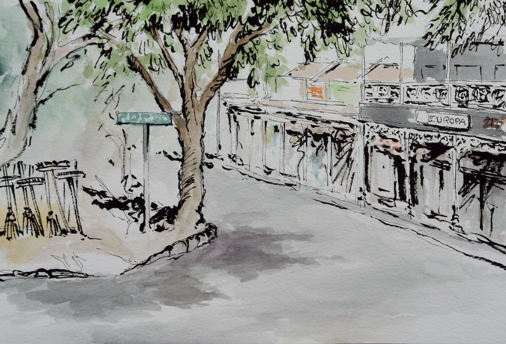 Pen and Watercolour drawing of a Parkview Corner Street Scene