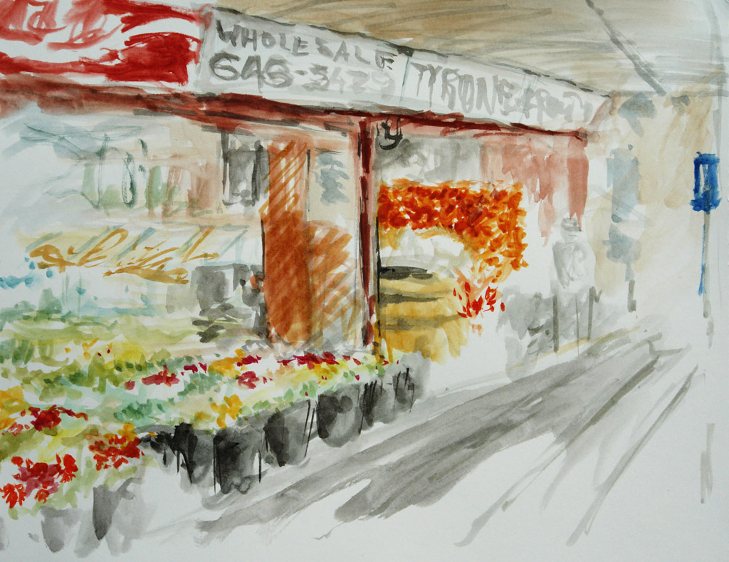 Watercolour painting sketch of Tyrone Fruitery