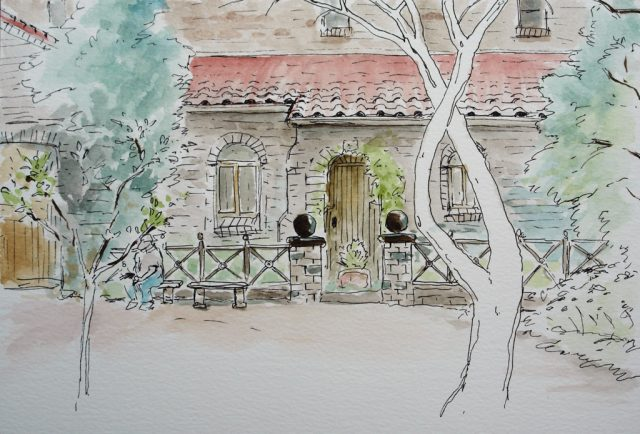 Pen & Watercolour Drawing of St Francis of Assisi Anglican Church