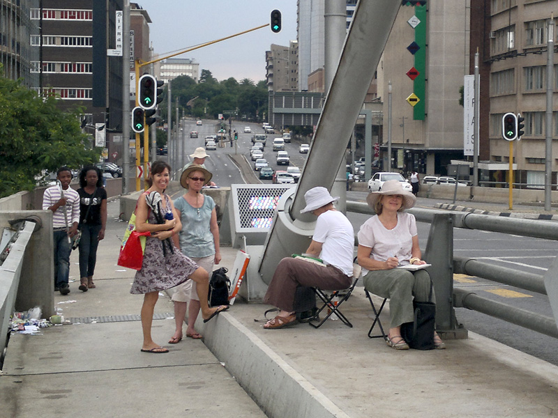 Joburg Sketchers gathered at Nelson Mandela Bridge