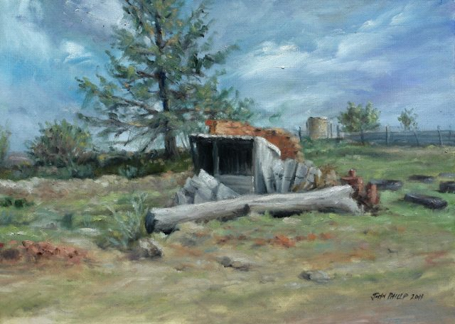 Plein air oil painting of the old fowl run shelter