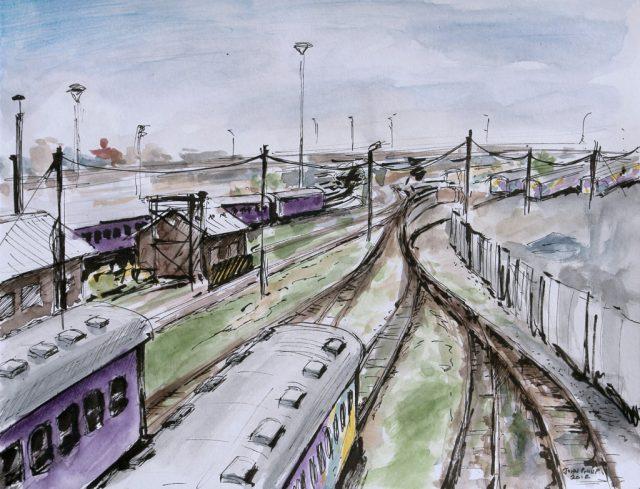 View of the railways from Nelson Mandela Bridge
