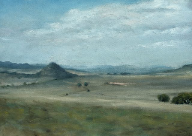 Oil painting of the farm scene with Spitskop hill in the distance.