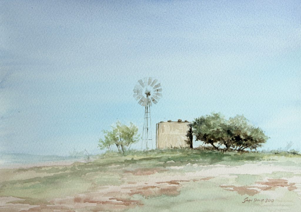 Watercolour painting of a windmill and water tank