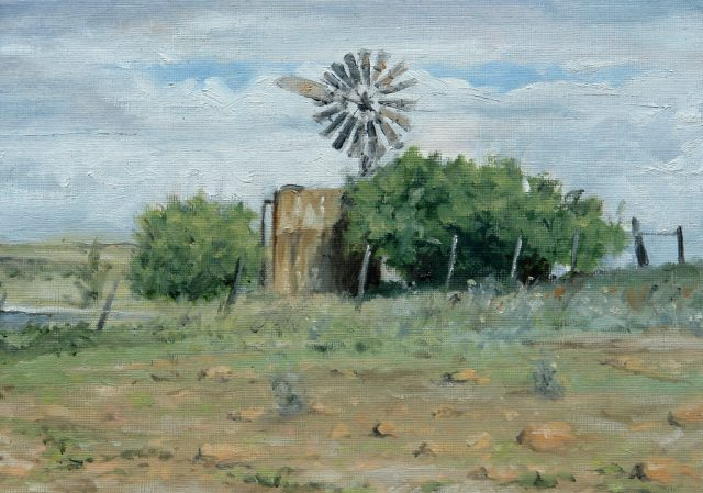 Oil Painting of a water tank, windmill and bushes.