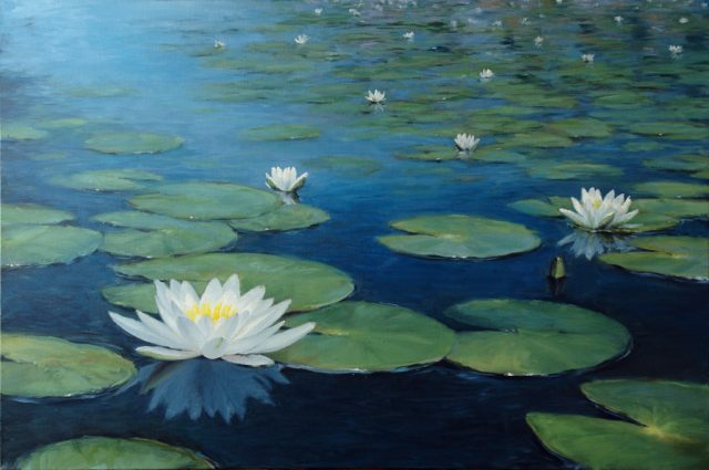 oil painting of water lilies flowering