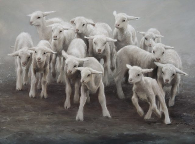 Oil Painting of Lambs Racing each other.