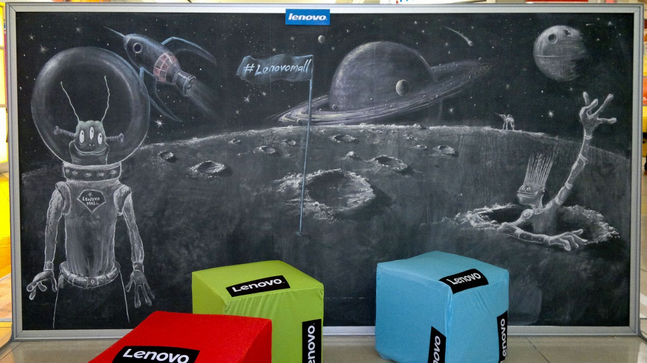 Chalk Drawings of Planets, Aliens and Spaceships