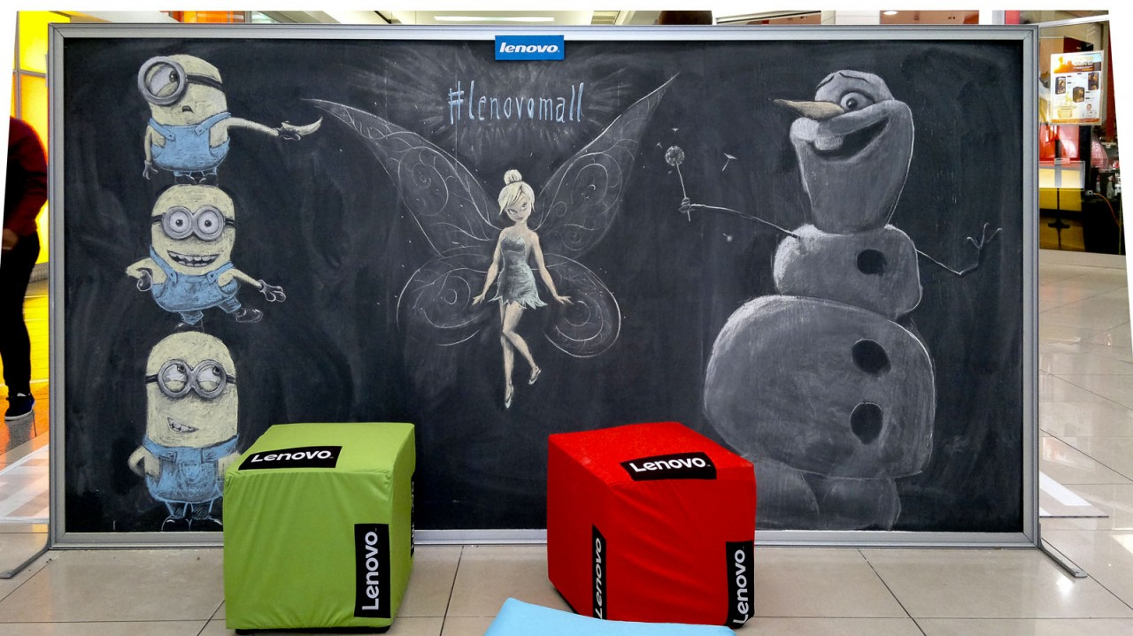 Chalk Drawings of Animated Cartoon characters - Minions, Olaf and Tinker Bell