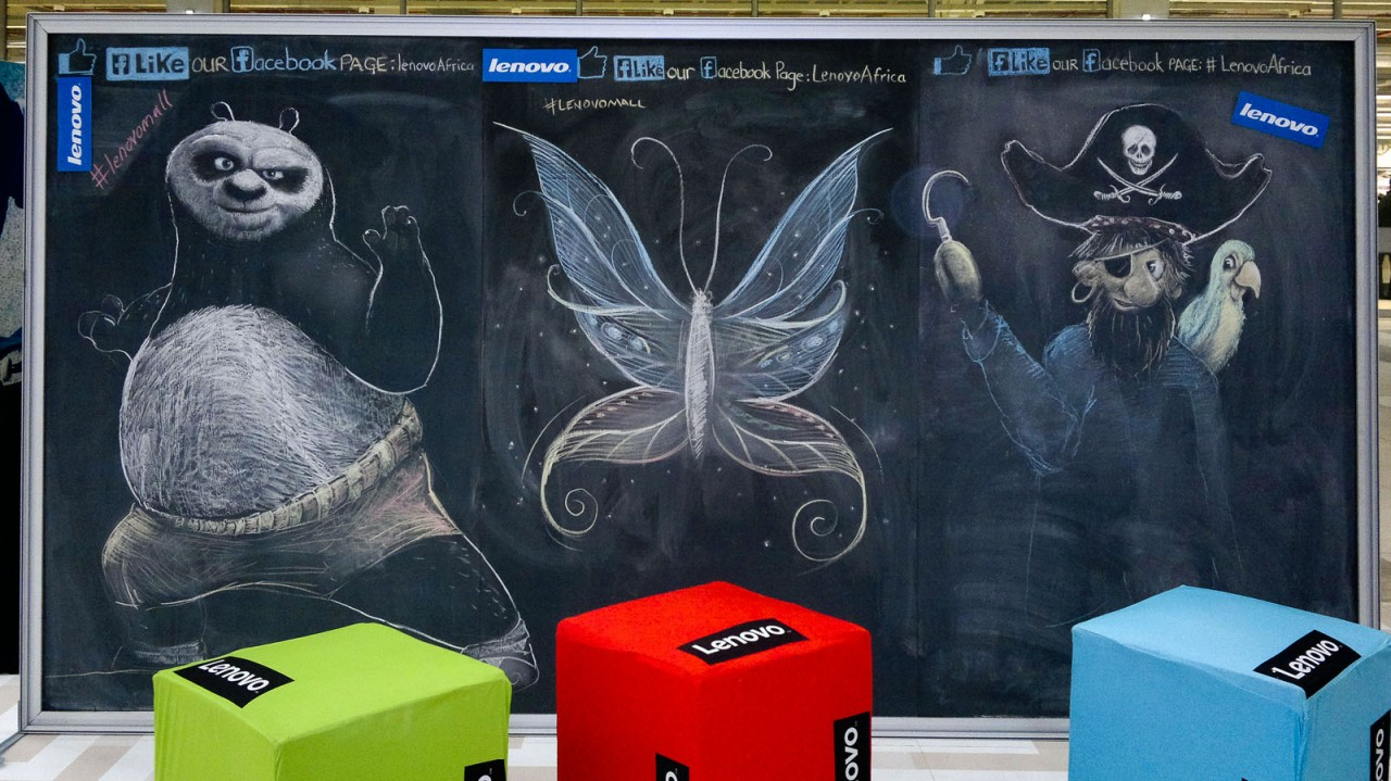 Chalk Drawings of a pirate, fantasy butterfly and Kung Fu Panda