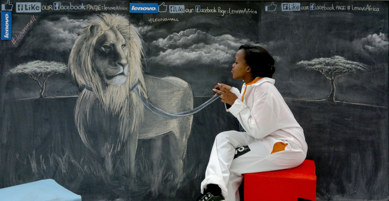 Chalk Drawing of an African Lion on a Leash