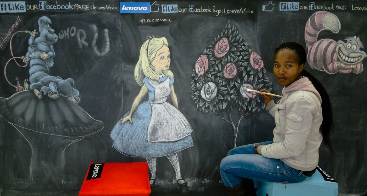 Chalk Drawings of Alice in Wonderland characters