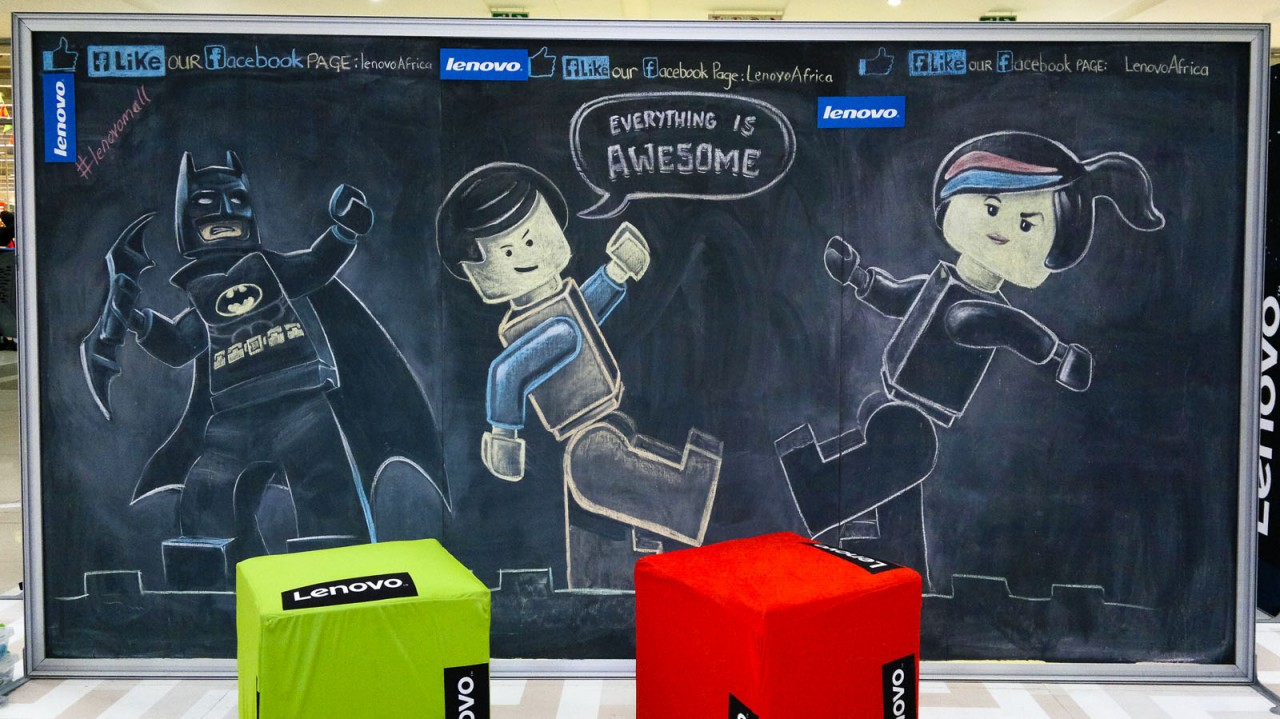Lego Chalk Drawings of Lego Batman, Emmet and Wyldstyle