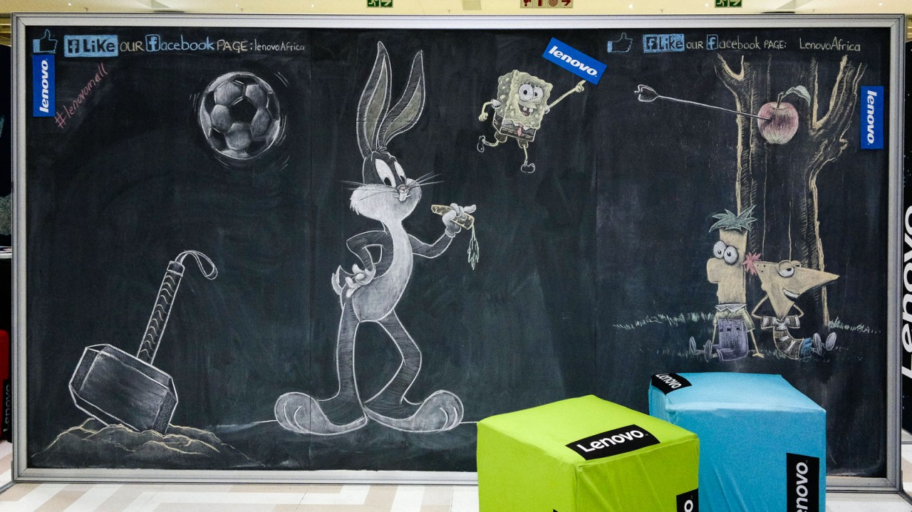 Chalk drawings of Thor's Hammer, Bugs Bunny, SpongeBob SquarePants, Phineas and Ferb