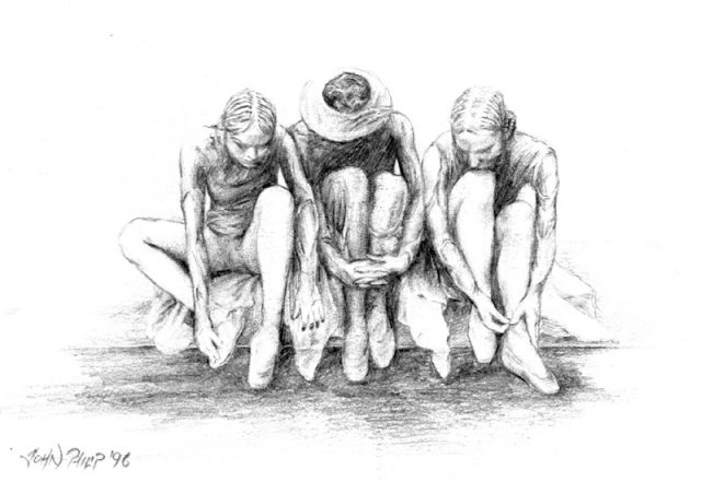Drawing of three ballet dancers