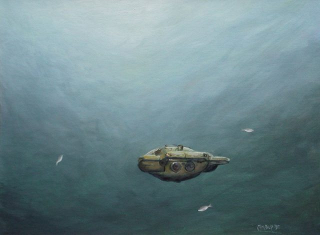 A painting of an old diving saucer.