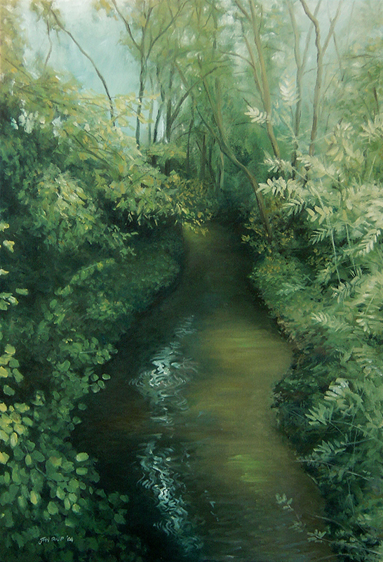 Painting of a forest with stream.