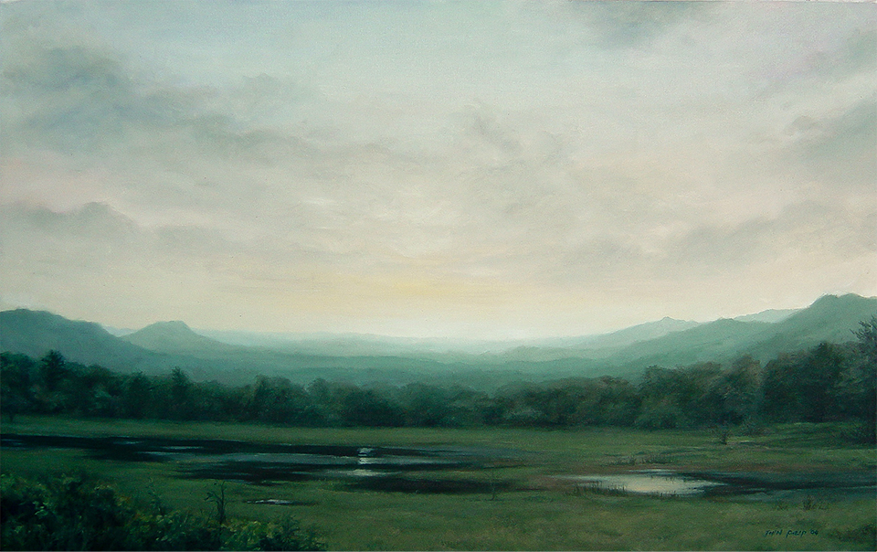 Oil Painting of Hotwe Lakes