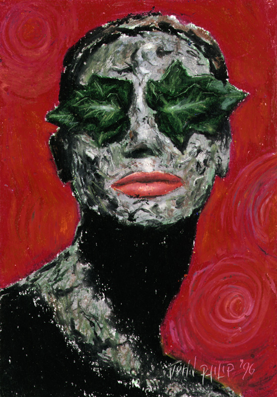 Lady with leaves over her eyes.