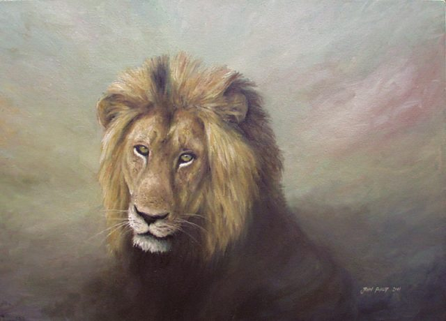 King of the Beasts. African lion painted on a dusty, brown, bronze and gold background colours.