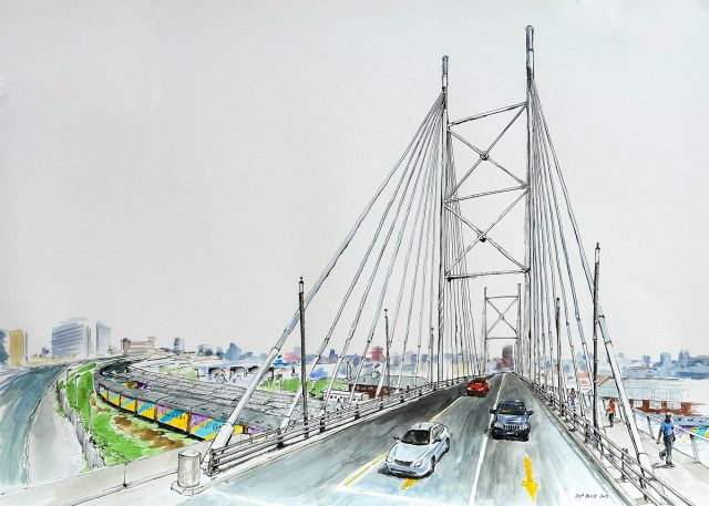Pen & Ink drawing of Mandela Bridge, Joburg, South Africa