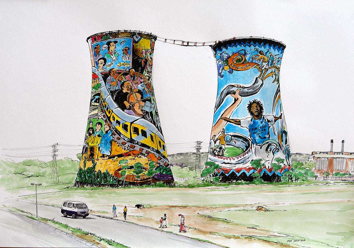 Pen & Ink Drawing of the Orlando Towers in Joburg