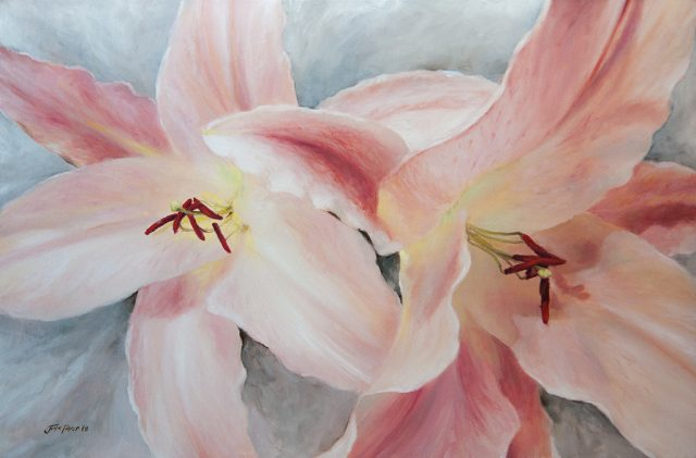 Oil painting of two pink Pink Tiger Lily flowers