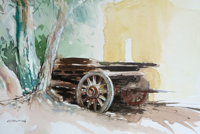Painting of an old wagon at 2nd cup coffee shop.