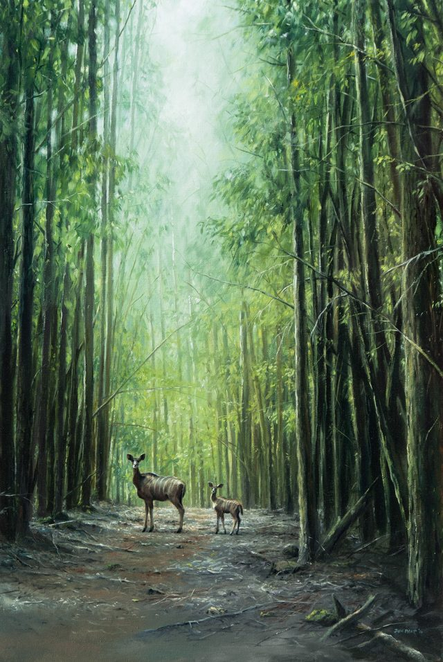 Oil Painting of a kudu and her baby