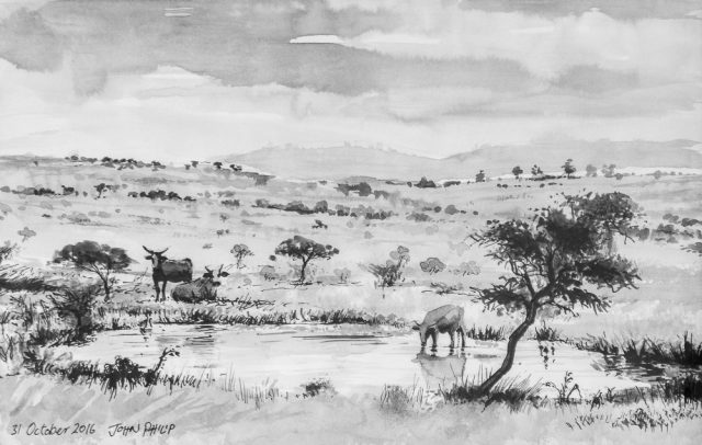 A drawing of a Landscape with Cattle in Pen and Ink
