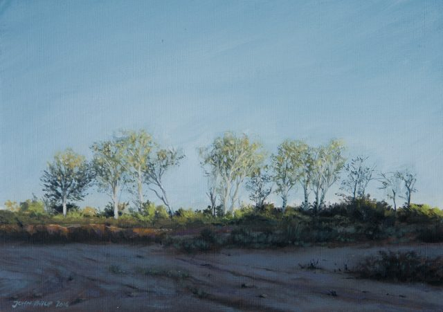 Oil painting of some poplar trees