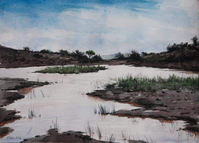 Painting of the Broken Dam at Silvermere
