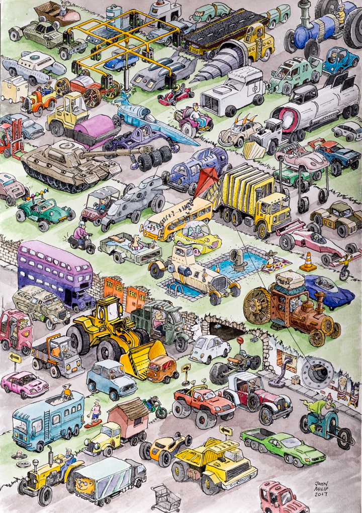 Illustration artwork of kinds of cars