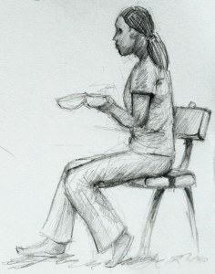 Pencil Sketch of a girl eating her lunch.