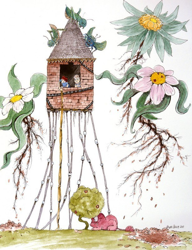 Cartoon of man, flowers, building all escaping.