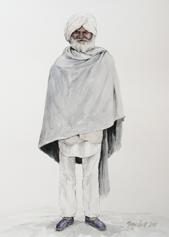 Watercolour painting of an old Punjabi man