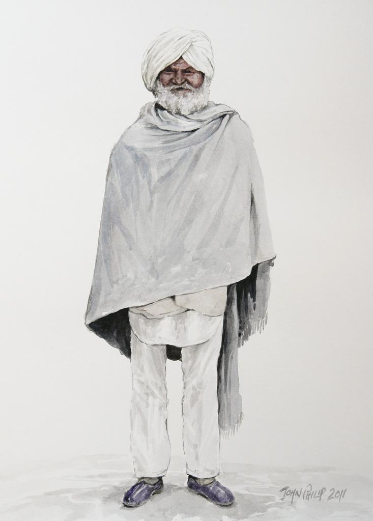 Watercolour painting of an old Punjabi man