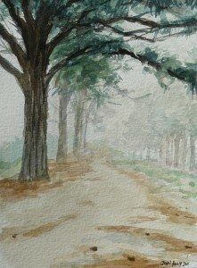 Watercolour of pine trees and road near Lothair, Mpumalanga, South Africa - Version 1