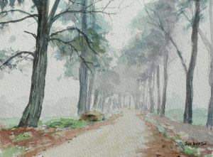 Watercolour of pine trees and road near Lothair, Mpumalanga, South Africa - Version 3
