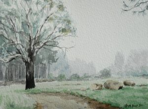 Watercolour of pine trees and road near Lothair, Mpumalanga, South Africa - Version 4