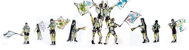Speed sketches of the Flag Throwers