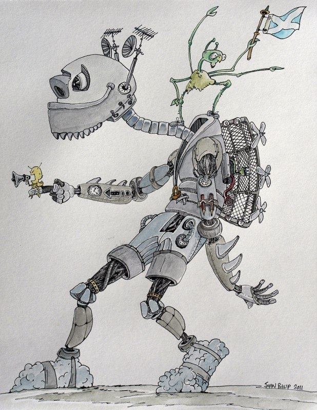 Cartoon drawing of a Robot man with gadgets