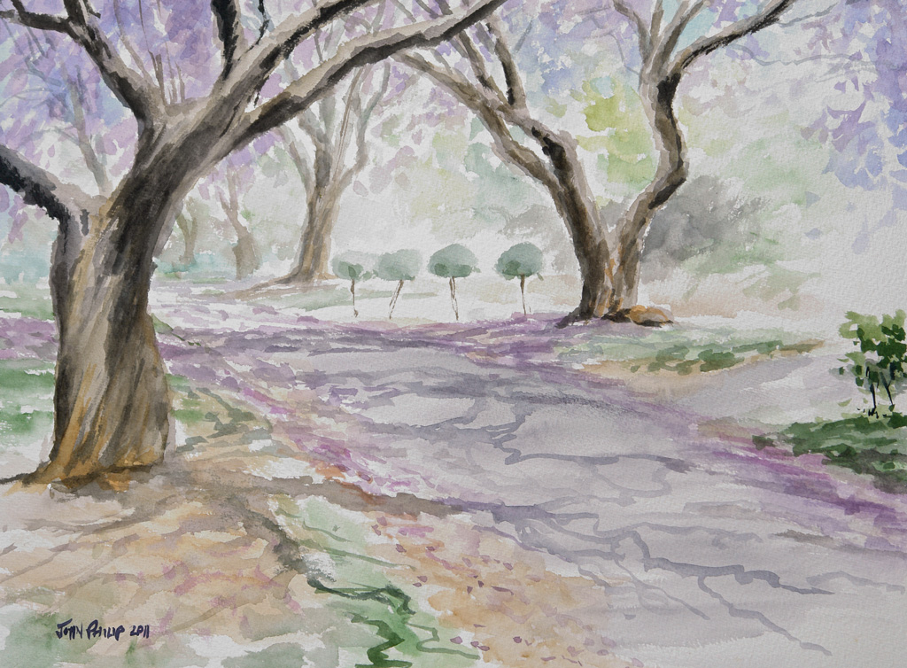 Larger painting of the jacarandas in bloom